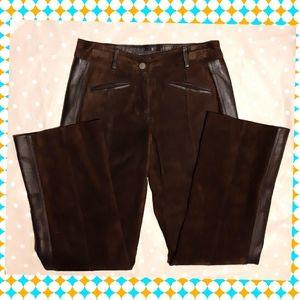 Leather suede straight pants  western boho vintage